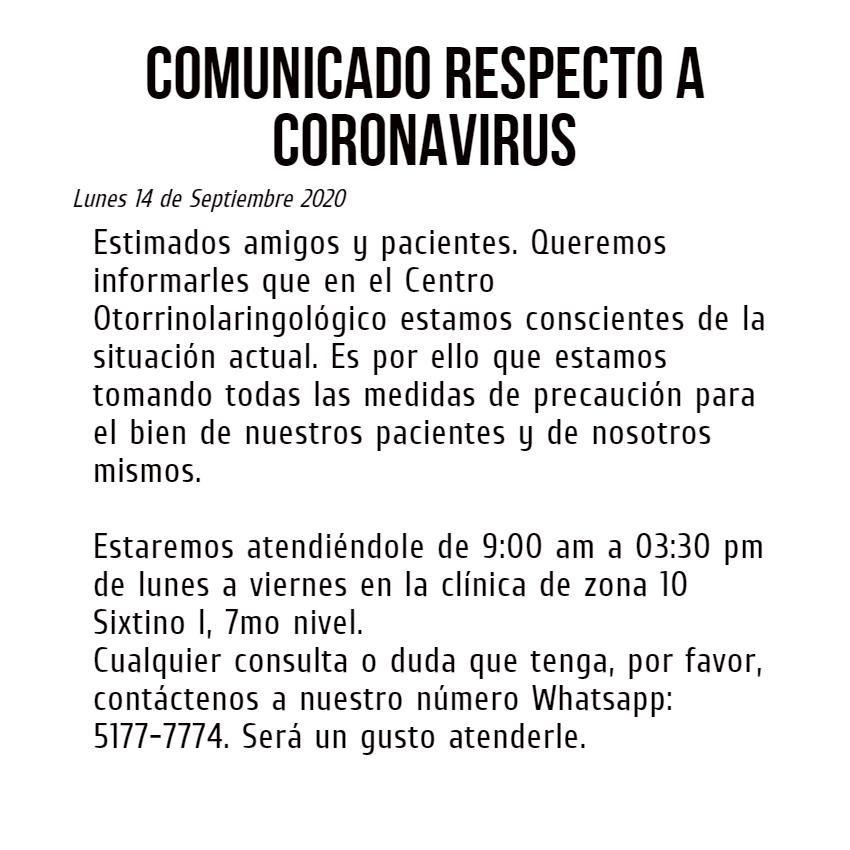 Comunicado Coronavirus del Centro Otorrinolaringológico